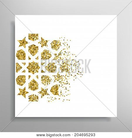 Celebration card. Vector invitation with Islamic pattern. Golden dispersion glitch effect