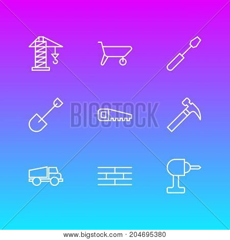 Editable Pack Of  Screwdriver, Handcart, Handle Hit Elements.  Vector Illustration Of 9 Industry Icons.