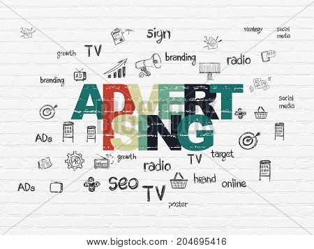 Marketing concept: Painted multicolor text Advertising on White Brick wall background with  Hand Drawn Marketing Icons