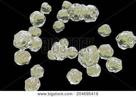 Liquid molecules isolated on black background, 3D illustration. Scientific or education background