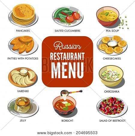 Russian cuisine traditional food dishes of pancakes, cucumber pickles or borscht and potato patty, okroshka vegetable soup, vareniki dumpling and beetroot salad. Vector icons of Russia restaurant menu
