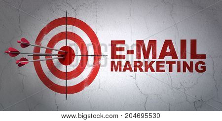 Success marketing concept: arrows hitting the center of target, Red E-mail Marketing on wall background, 3D rendering