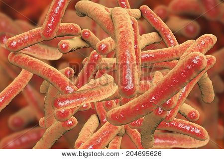 Bacteria Mycobacterium tuberculosis, the causative agent of tuberculosis, 3D illustration