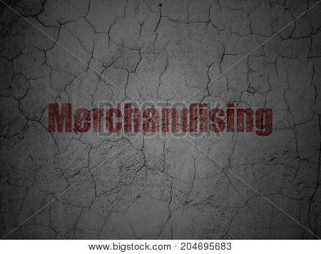 Advertising concept: Red Merchandising on grunge textured concrete wall background poster