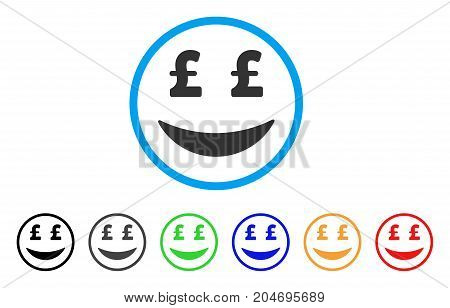 Pound Businessman Smile rounded icon. Style is a flat pound businessman smile grey symbol inside light blue circle with black, gray, green, blue, red, orange variants.