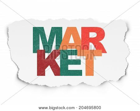 Advertising concept: Painted multicolor text Market on Torn Paper background