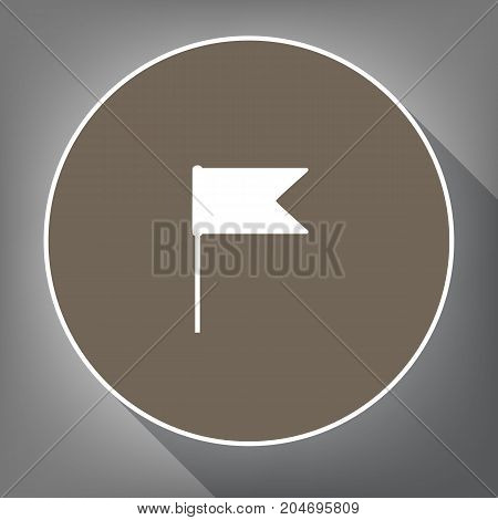Flag sign illustration. Vector. White icon on brown circle with white contour and long shadow at gray background. Like top view on postament.