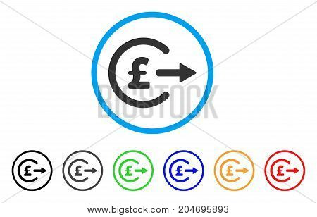 Pound Cash Out rounded icon. Style is a flat pound cash out grey symbol inside light blue circle with black, gray, green, blue, red, orange variants. Vector designed for web and software interfaces.