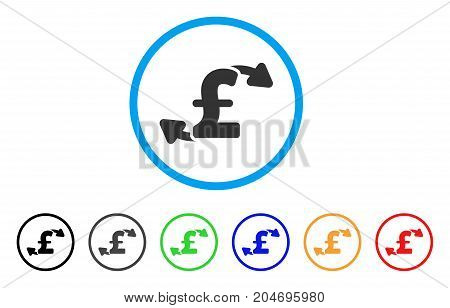 Pound Cash Outs rounded icon. Style is a flat pound cash outs grey symbol inside light blue circle with black, gray, green, blue, red, orange color versions.