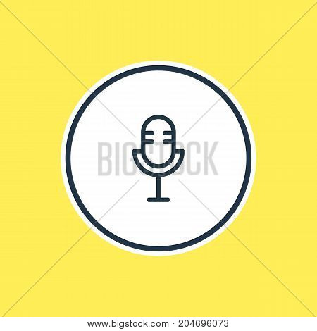 Mike Element.  Vector Illustration Of Microphone Outline.