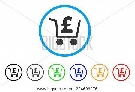 Pound Checkout rounded icon. Style is a flat pound checkout grey symbol inside light blue circle with black, gray, green, blue, red, orange color versions.