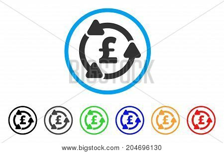 Pound Circulation rounded icon. Style is a flat pound circulation gray symbol inside light blue circle with black, gray, green, blue, red, orange variants.