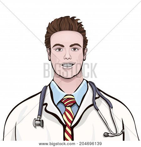 Male Doctor Standing Front Side, Vector Cartoon Multicolored Portrait Three Quarters Men Physician,