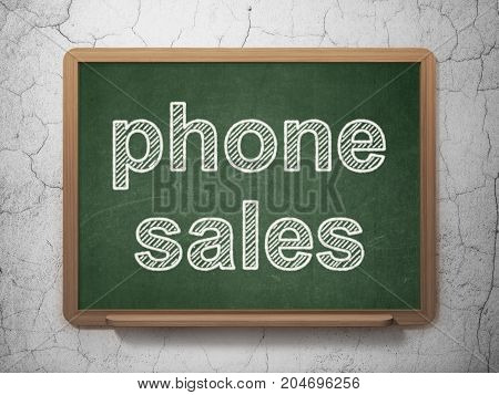 Marketing concept: text Phone Sales on Green chalkboard on grunge wall background, 3D rendering