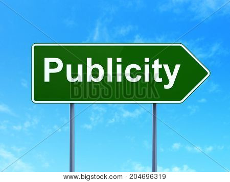 Advertising concept: Publicity on green road highway sign, clear blue sky background, 3D rendering