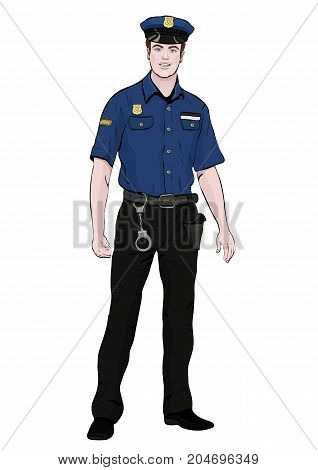 Police officer standing front side vector cartoon portrait male cop full-length multicolor painted human in a police uniform with arms and handcuffs isolated on white