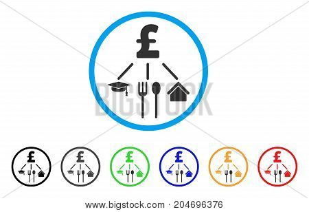 Pound Consumption Pattern rounded icon. Style is a flat pound consumption pattern gray symbol inside light blue circle with black, gray, green, blue, red, orange versions.