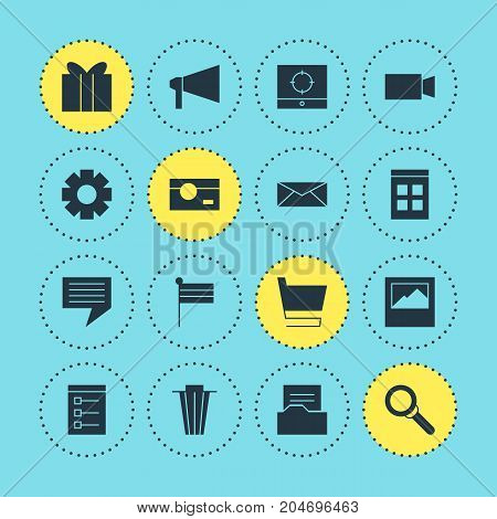 Editable Pack Of Document Directory, Bullhorn, Landscape Photo Elements.  Vector Illustration Of 16 Web Icons.