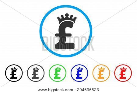 Pound Crown rounded icon. Style is a flat pound crown gray symbol inside light blue circle with black, gray, green, blue, red, orange variants. Vector designed for web and software interfaces.