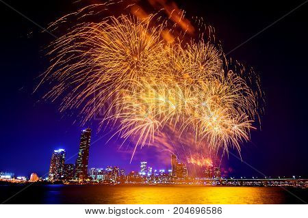 Seoul International Fireworks Festival In South Korea.