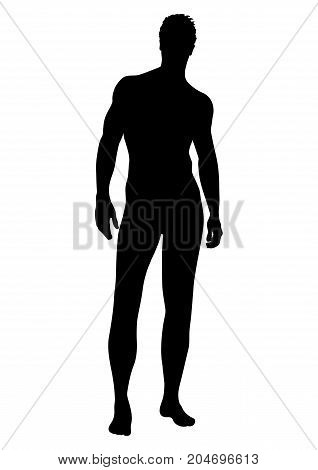 Naked Man Vector Silhouette, Contour Human, Outline Portrait Muscular Male Athlete Standing Front Si