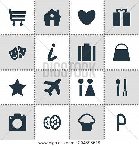 Editable Pack Of Shopping Cart, Film, Car Park And Other Elements.  Vector Illustration Of 16 Travel Icons.