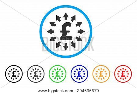 Pound Distribution rounded icon. Style is a flat pound distribution gray symbol inside light blue circle with black, gray, green, blue, red, orange color versions.