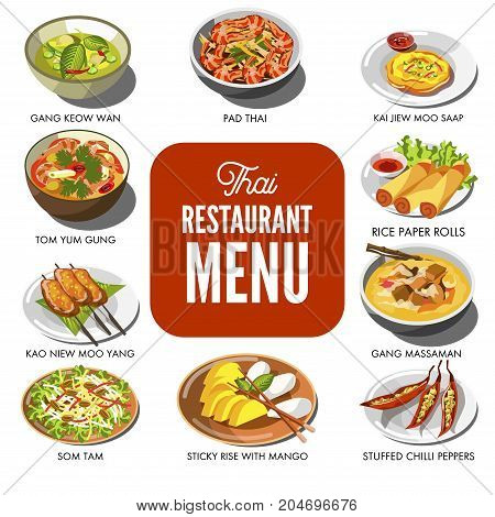 Thai cuisine food and traditional dishes of gang keow wan, pad thai noodles, soup tom yum gun, rice paper rolls or som tam salad and stuffed chili pepper. Vector icons for Thailand restaurant menu