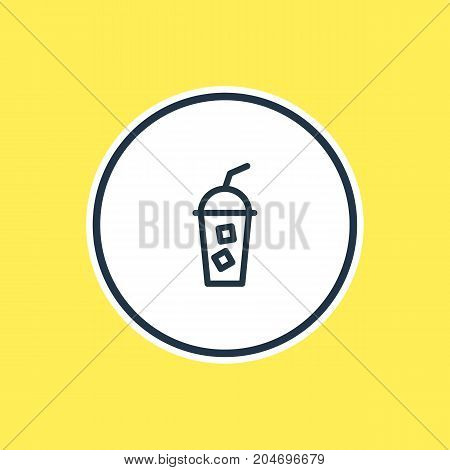 Beautiful Drink Element Also Can Be Used As Soft Beverage Element.  Vector Illustration Of Cold Drink Outline.