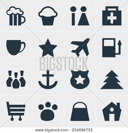 Editable Pack Of Toilet, Drugstore, Beer Mug And Other Elements.  Vector Illustration Of 16 Travel Icons.