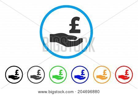 Pound Donation Hand rounded icon. Style is a flat pound donation hand gray symbol inside light blue circle with black, gray, green, blue, red, orange color versions.