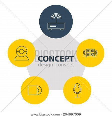 Editable Pack Of Video Chat, Loudspeaker, Sound Recording And Other Elements.  Vector Illustration Of 5 Accessory Icons.