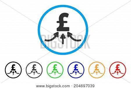 Pound Financial Accumulator rounded icon. Style is a flat pound financial accumulator gray symbol inside light blue circle with black, gray, green, blue, red, orange color versions.