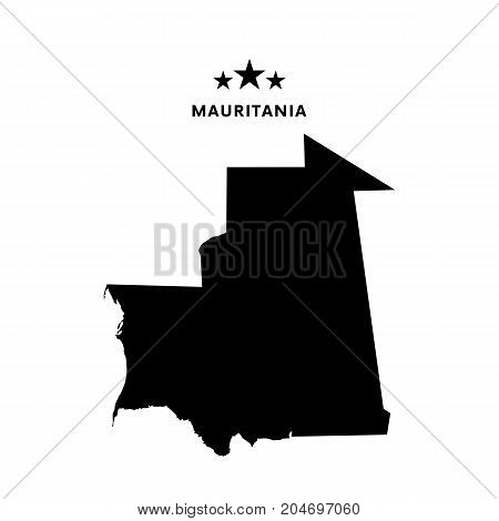 Mauritania map. Text and stars. Vector illustration.