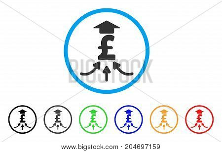 Pound Financial Aggregator rounded icon. Style is a flat pound financial aggregator grey symbol inside light blue circle with black, gray, green, blue, red, orange variants.