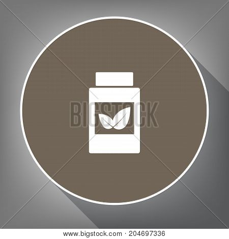 Supplements container sign. Vector. White icon on brown circle with white contour and long shadow at gray background. Like top view on postament.