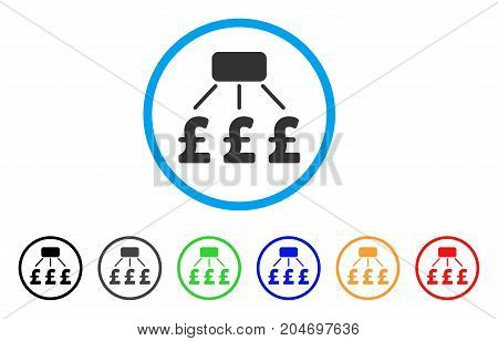 Pound Financial Scheme rounded icon. Style is a flat pound financial scheme gray symbol inside light blue circle with black, gray, green, blue, red, orange variants.