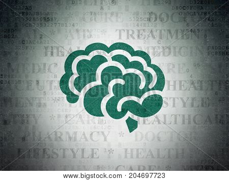 Healthcare concept: Painted green Brain icon on Digital Data Paper background with  Tag Cloud