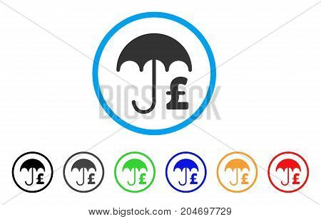 Pound Financial Umbrella rounded icon. Style is a flat pound financial umbrella grey symbol inside light blue circle with black, gray, green, blue, red, orange color versions.