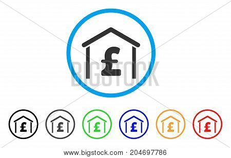 Pound Garage rounded icon. Style is a flat pound garage gray symbol inside light blue circle with black, gray, green, blue, red, orange versions. Vector designed for web and software interfaces.