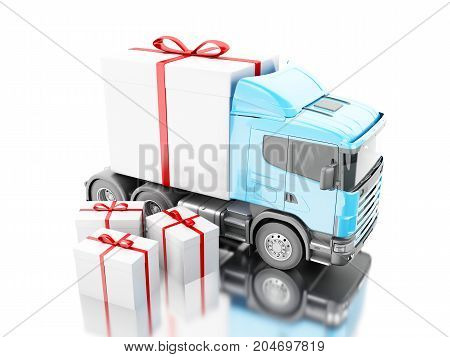 3D Truck Delivering A Gift Box With Ribbon