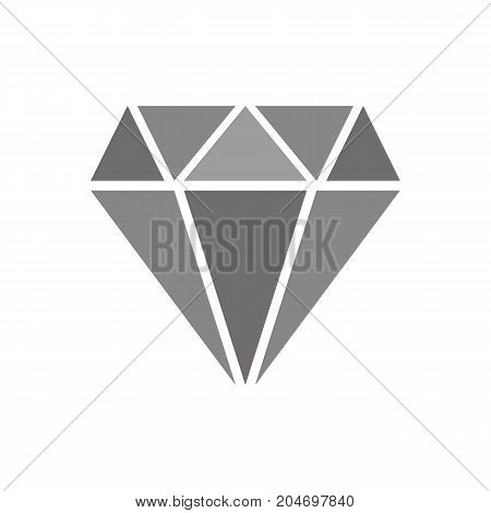 Diamond illustration with shades of gray isolated on white background.