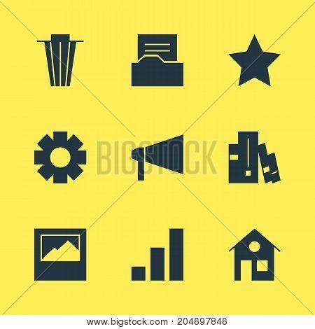 Editable Pack Of Bookmark, Landscape Photo, Bookshelf Elements.  Vector Illustration Of 9 Web Icons.