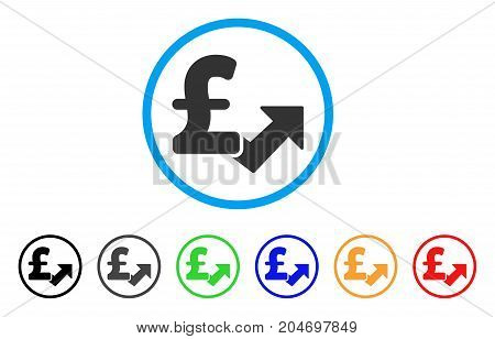 Pound Growth rounded icon. Style is a flat pound growth gray symbol inside light blue circle with black, gray, green, blue, red, orange variants. Vector designed for web and software interfaces.