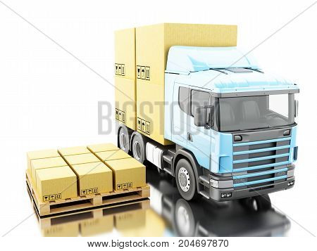 3D Truck With Carboard Boxes On Pallet