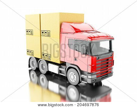 3D Truck Carry Carboard Boxes