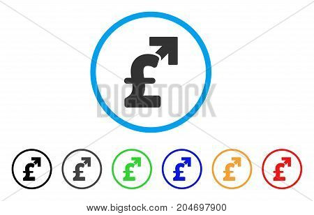 Pound Growth rounded icon. Style is a flat pound growth grey symbol inside light blue circle with black, gray, green, blue, red, orange color versions. Vector designed for web and software interfaces.