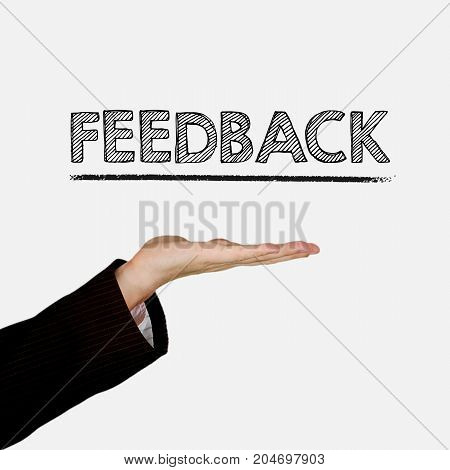 Woman showing open hand palm with text Feedback, isolated on background. Information concept.