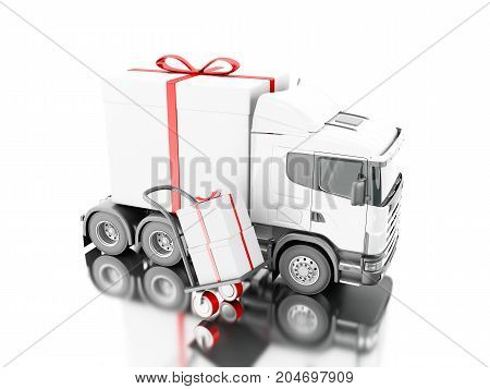 3D Truck Delivering A Gift Box With Hand Truck