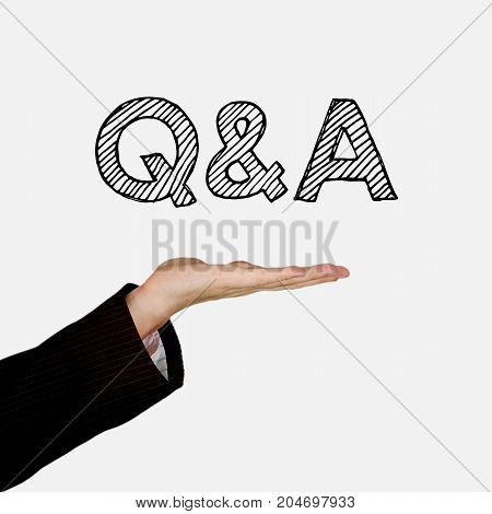 Woman showing open hand palm with text Q&A, isolated on background. Information concept.